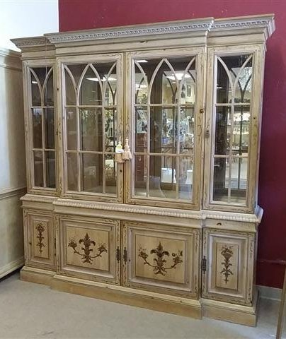 LARGE FANCHER FURN HAND PAINTED BREAKFRONT CABINET