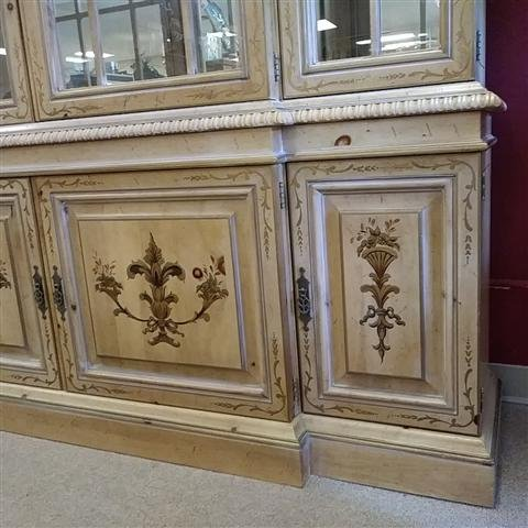 LARGE FANCHER FURN HAND PAINTED BREAKFRONT CABINET - 2