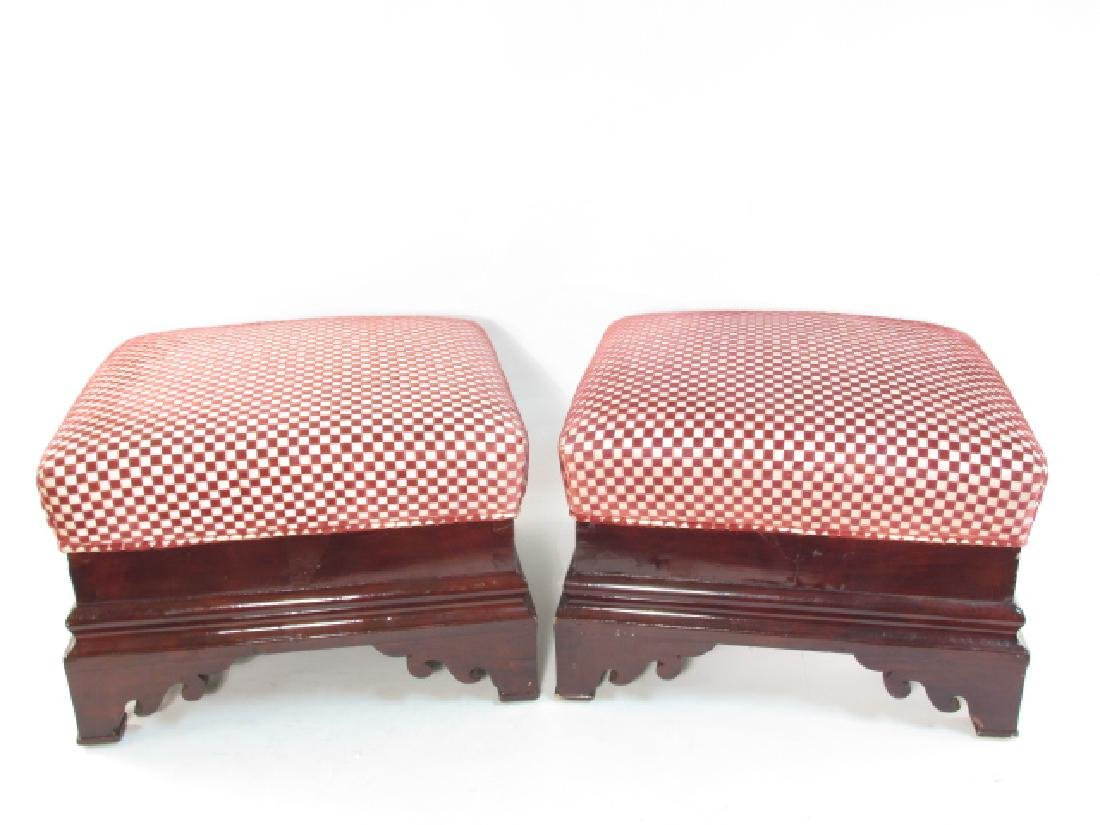 TWO EARLY 19TH C EMPIRE MAHOGANY FOOTSTOOLS