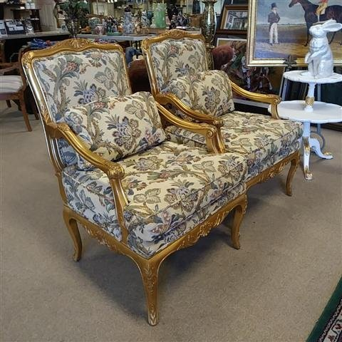 PAIR GOLD TONE FLORAL UPHOLSTERED BERGERE CHAIRS