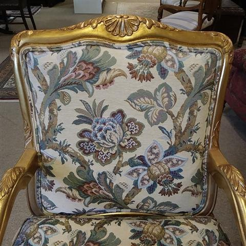 PAIR GOLD TONE FLORAL UPHOLSTERED BERGERE CHAIRS - 2
