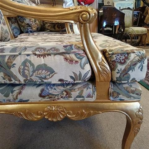 PAIR GOLD TONE FLORAL UPHOLSTERED BERGERE CHAIRS - 3