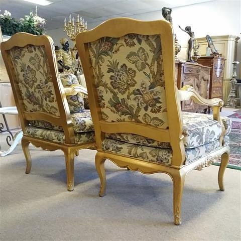 PAIR GOLD TONE FLORAL UPHOLSTERED BERGERE CHAIRS - 4