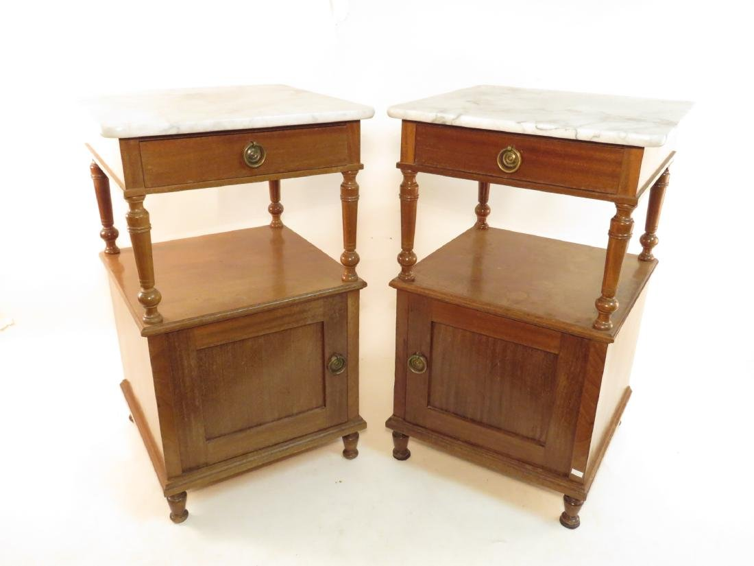 PAIR VINTAGE MARBLE TOP PECAN NIGHT STANDS