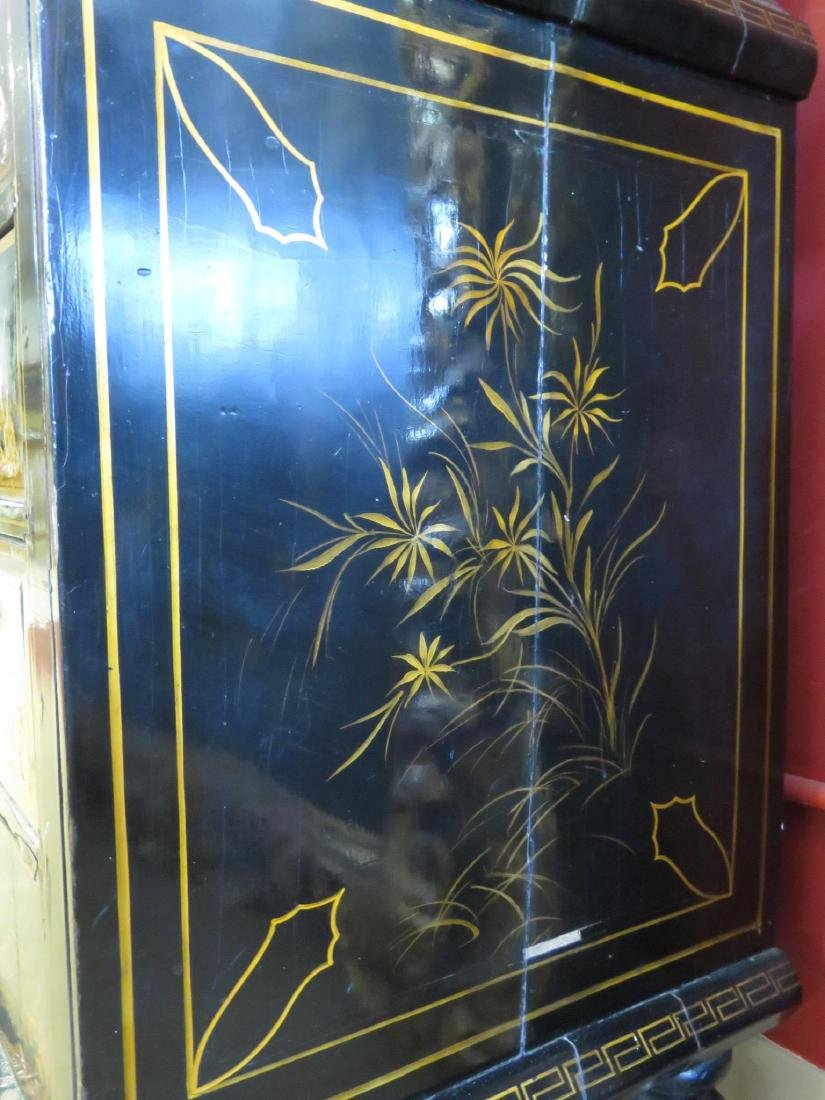 19TH C CHINESE EXPORT BLACK LACQUER CABINET - 11