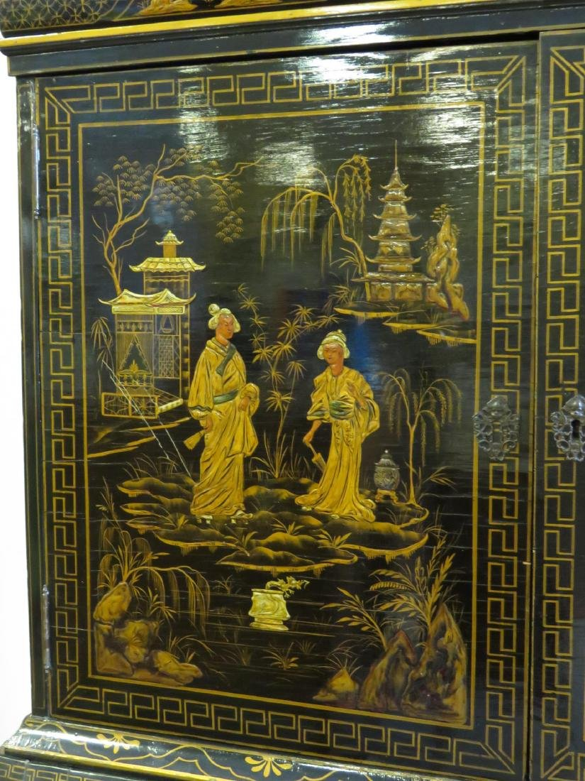 19TH C CHINESE EXPORT BLACK LACQUER CABINET - 13