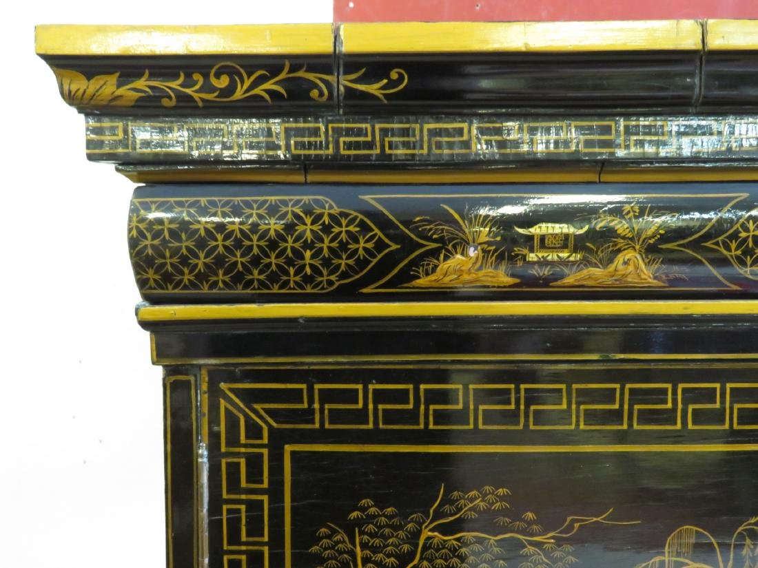 19TH C CHINESE EXPORT BLACK LACQUER CABINET - 2