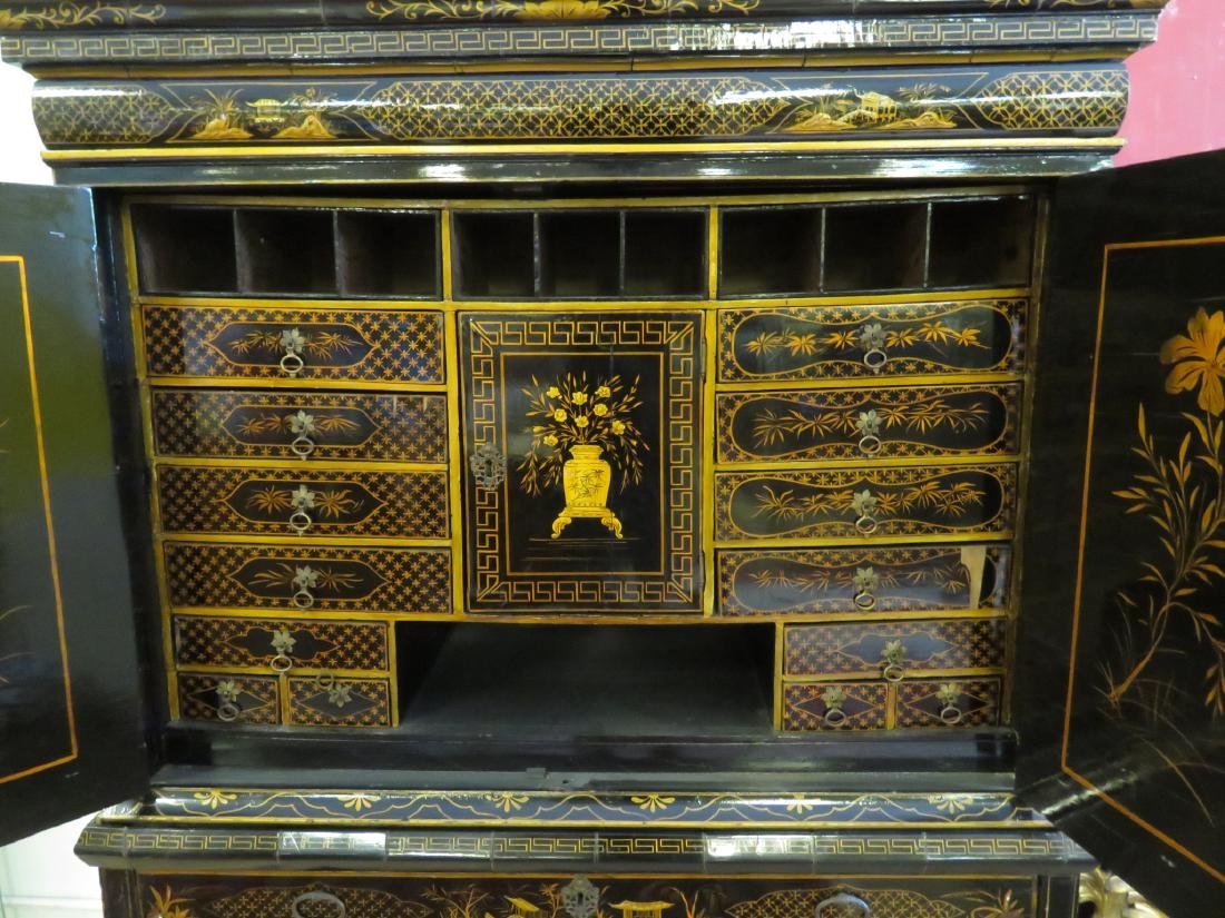 19TH C CHINESE EXPORT BLACK LACQUER CABINET - 3