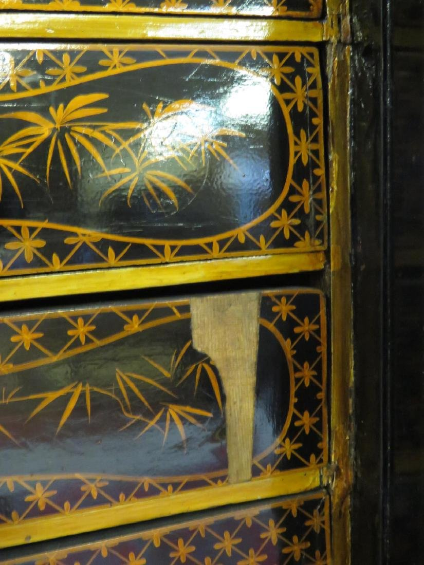 19TH C CHINESE EXPORT BLACK LACQUER CABINET - 4