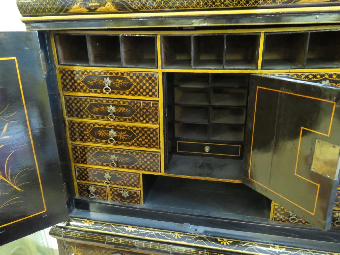 19TH C CHINESE EXPORT BLACK LACQUER CABINET - 6