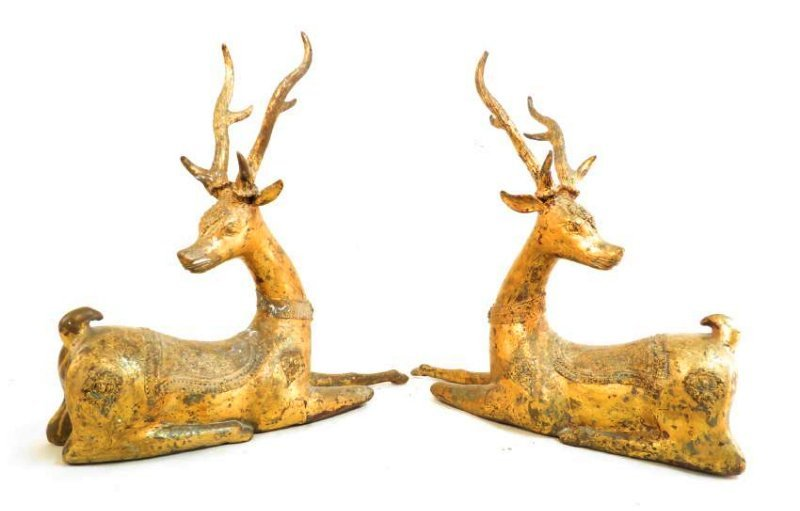 PAIR INDIAN DHOKRA GILT BRONZE STAG SCULPTURES