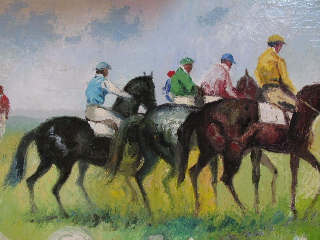 ANDRE MASSET OIL ON CANVAS PAINTING POLO PLAYERS - 4