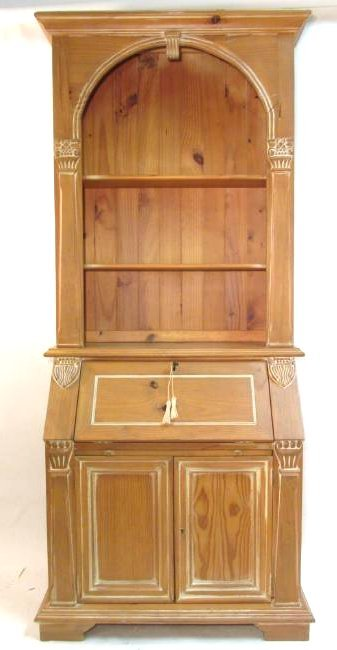 CARVED PINE SECRETAIRE BOOKCASE
