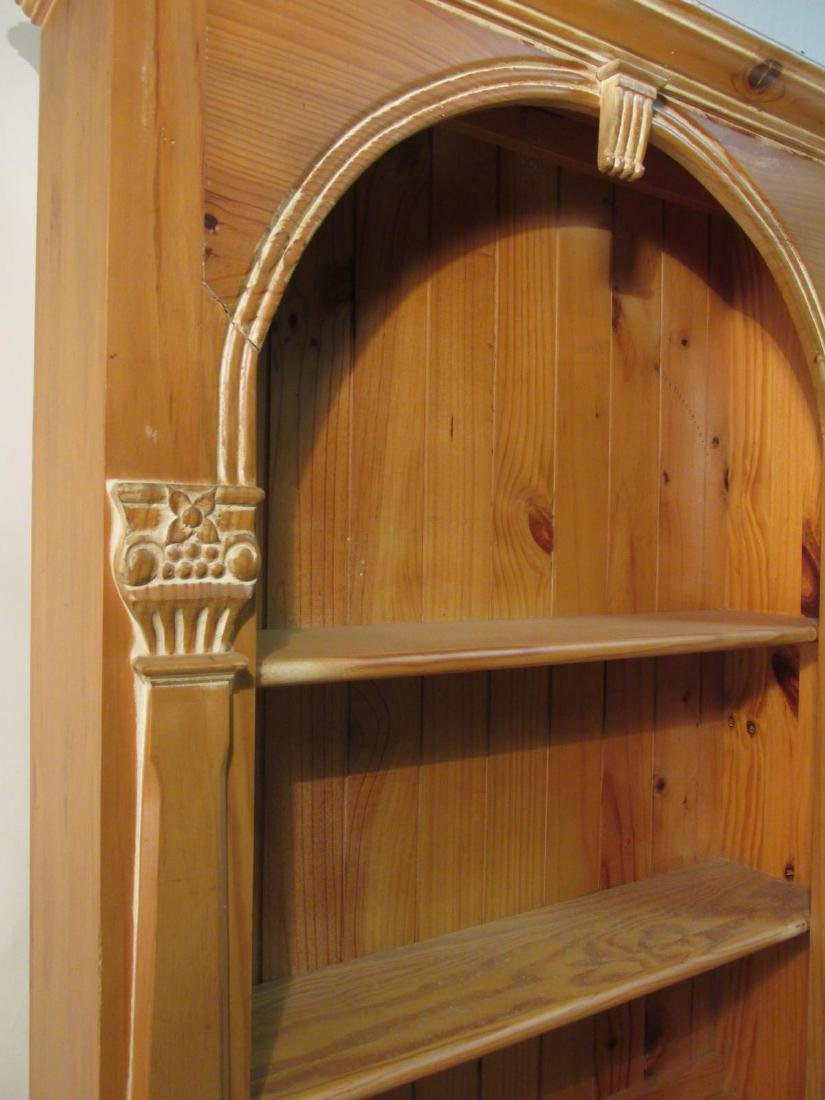 CARVED PINE SECRETAIRE BOOKCASE - 2