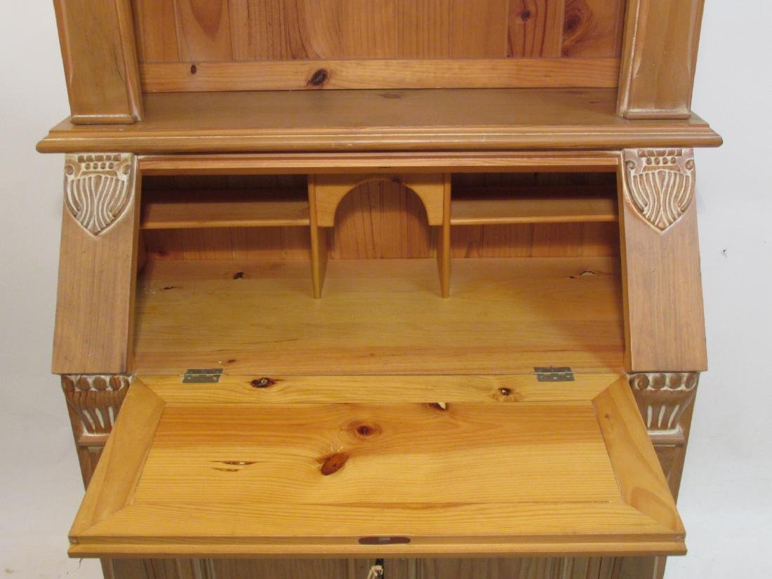 CARVED PINE SECRETAIRE BOOKCASE - 3