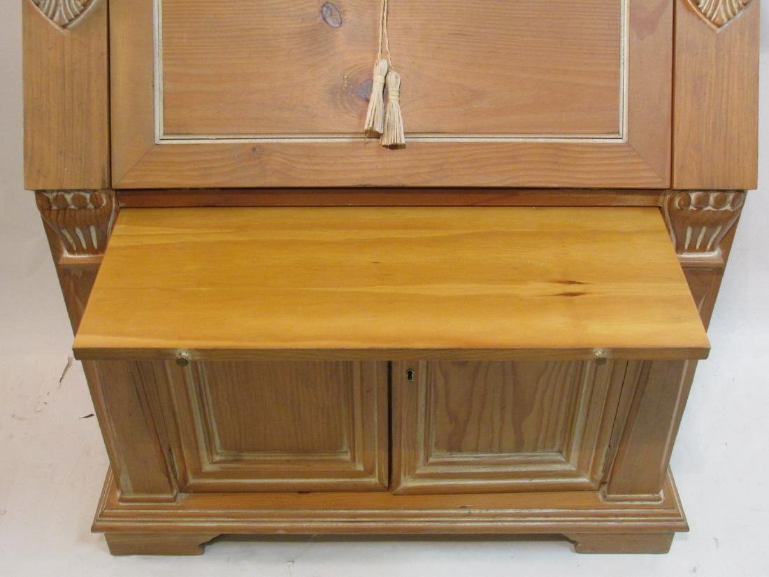 CARVED PINE SECRETAIRE BOOKCASE - 6
