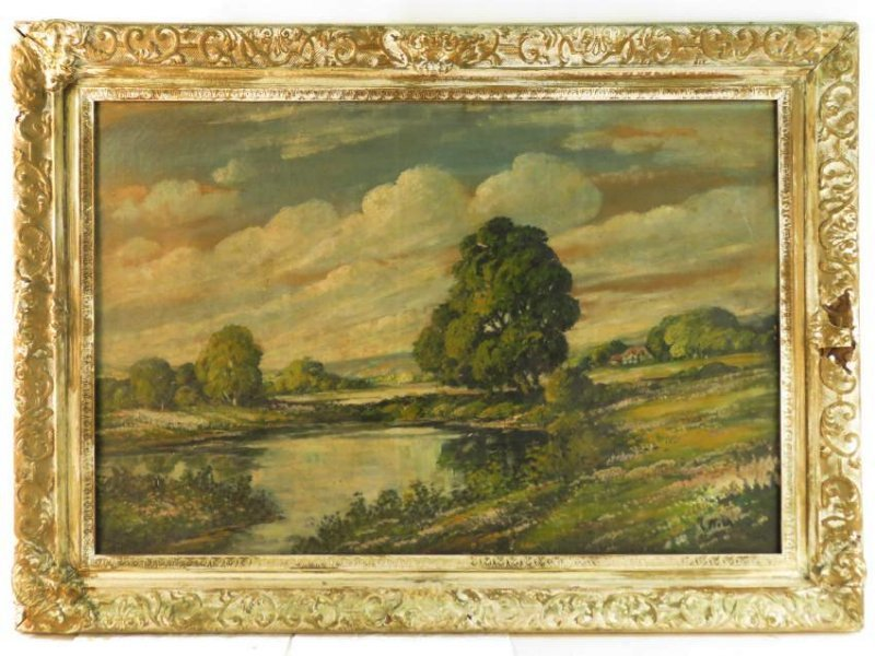 19TH C OIL ON CANVAS LANDSCAPE SCENE PAINTING
