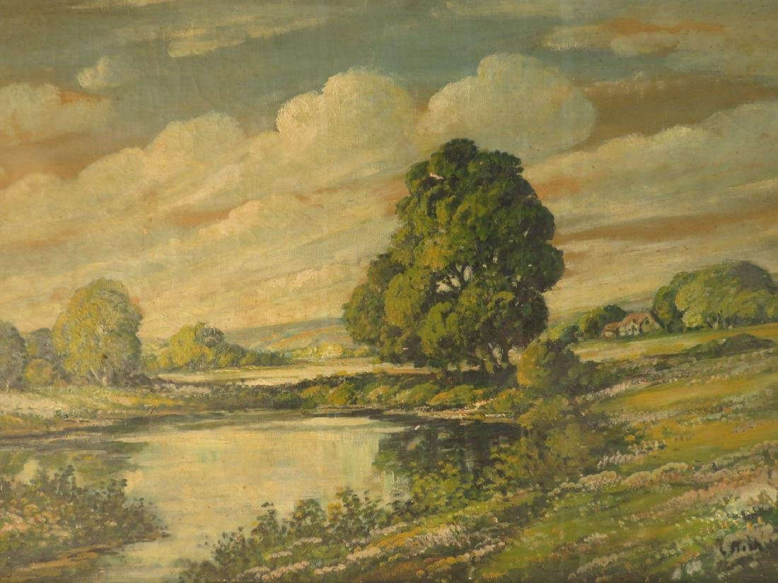 19TH C OIL ON CANVAS LANDSCAPE SCENE PAINTING - 2
