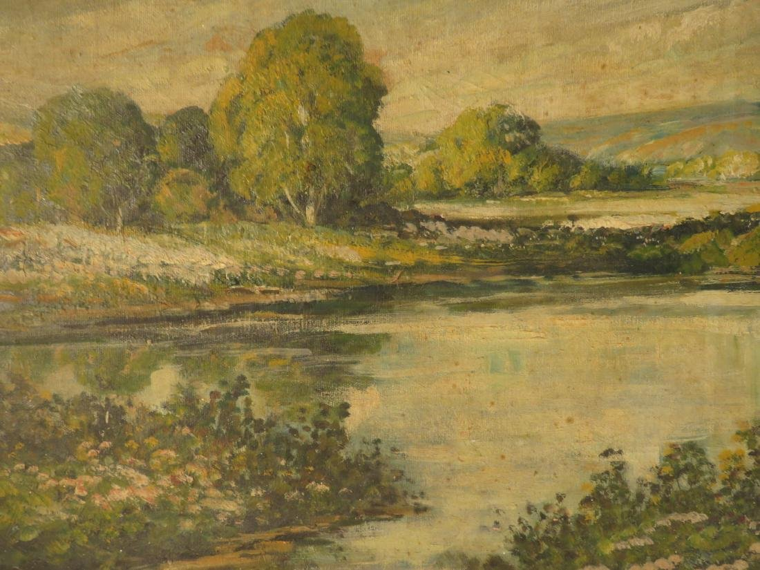 19TH C OIL ON CANVAS LANDSCAPE SCENE PAINTING - 3