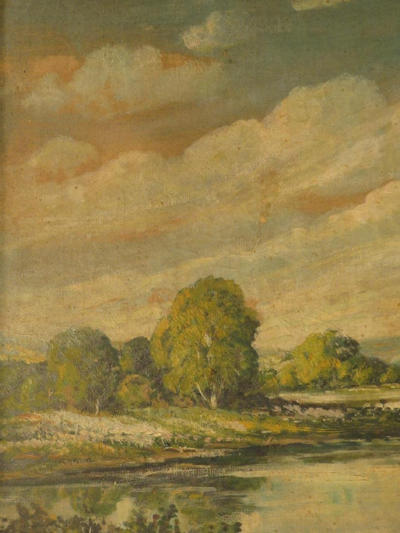 19TH C OIL ON CANVAS LANDSCAPE SCENE PAINTING - 4