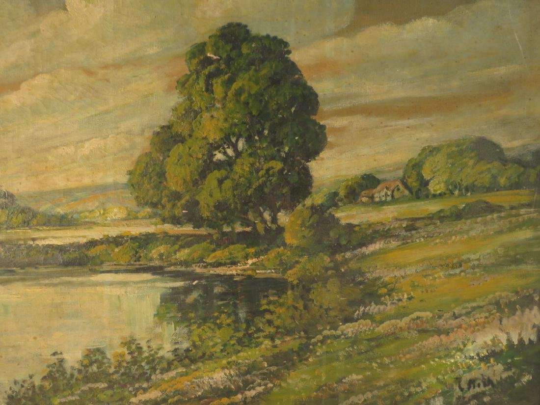 19TH C OIL ON CANVAS LANDSCAPE SCENE PAINTING - 5