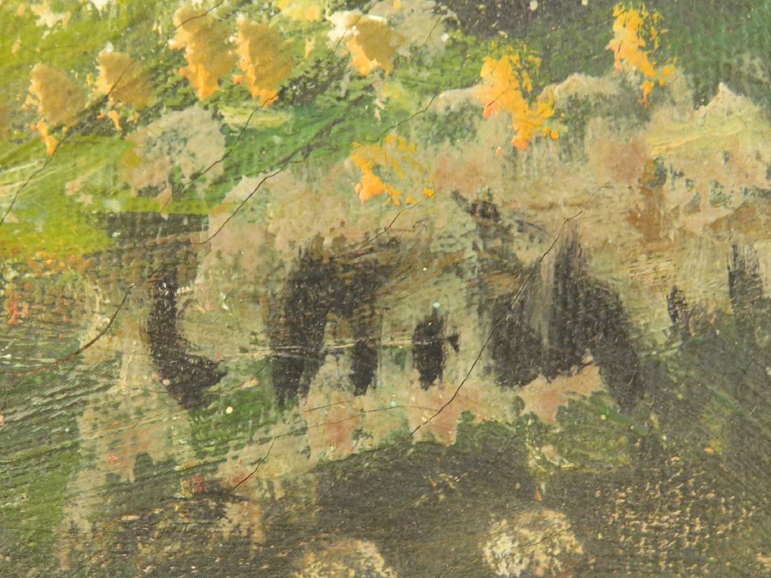 19TH C OIL ON CANVAS LANDSCAPE SCENE PAINTING - 6