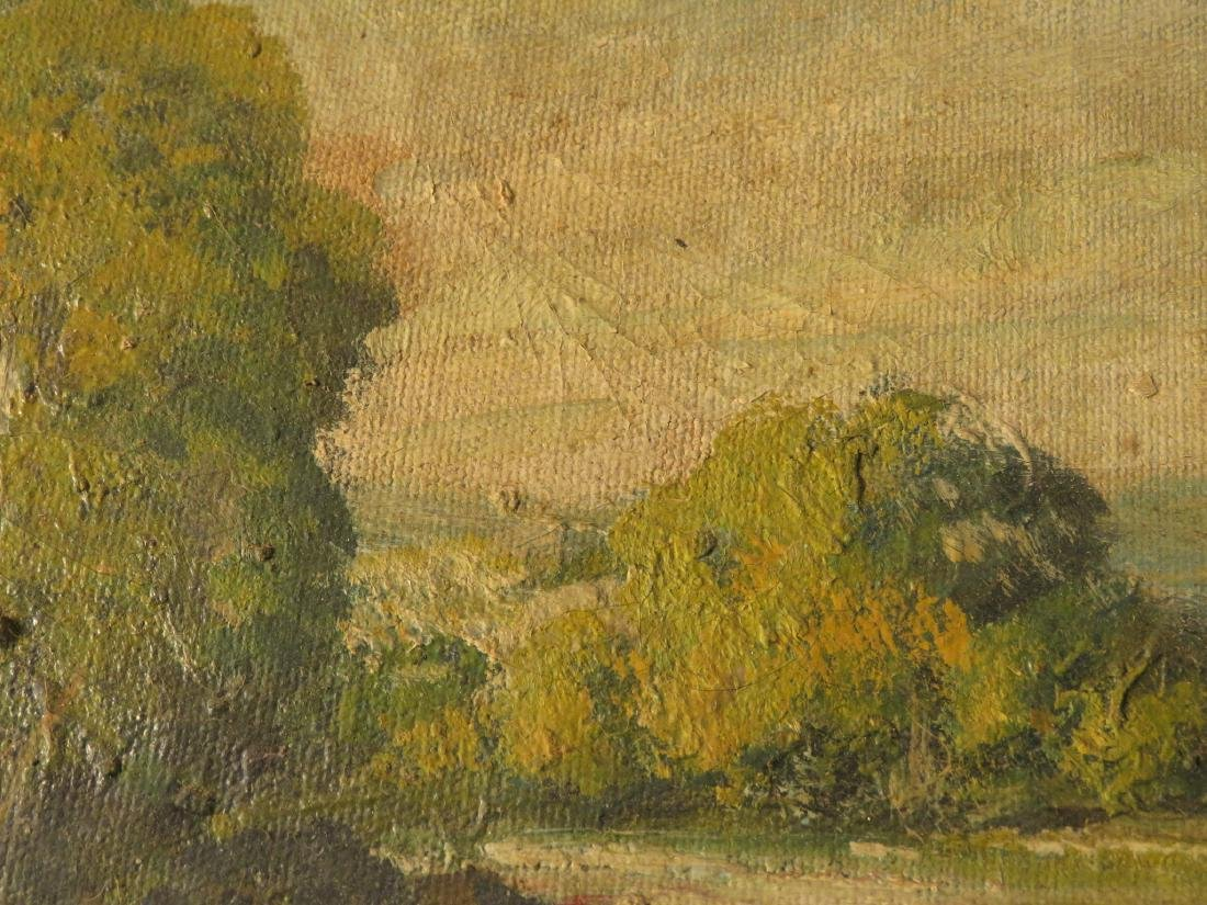 19TH C OIL ON CANVAS LANDSCAPE SCENE PAINTING - 7