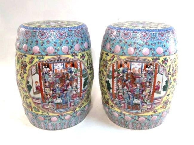 PAIR CHINESE ROSE MANDARIN GARDEN STOOLS