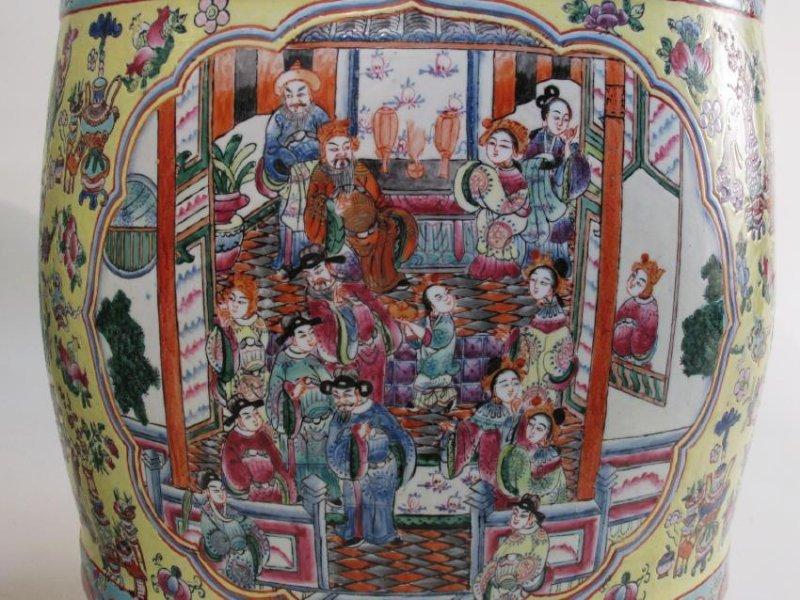 PAIR CHINESE ROSE MANDARIN GARDEN STOOLS - 3