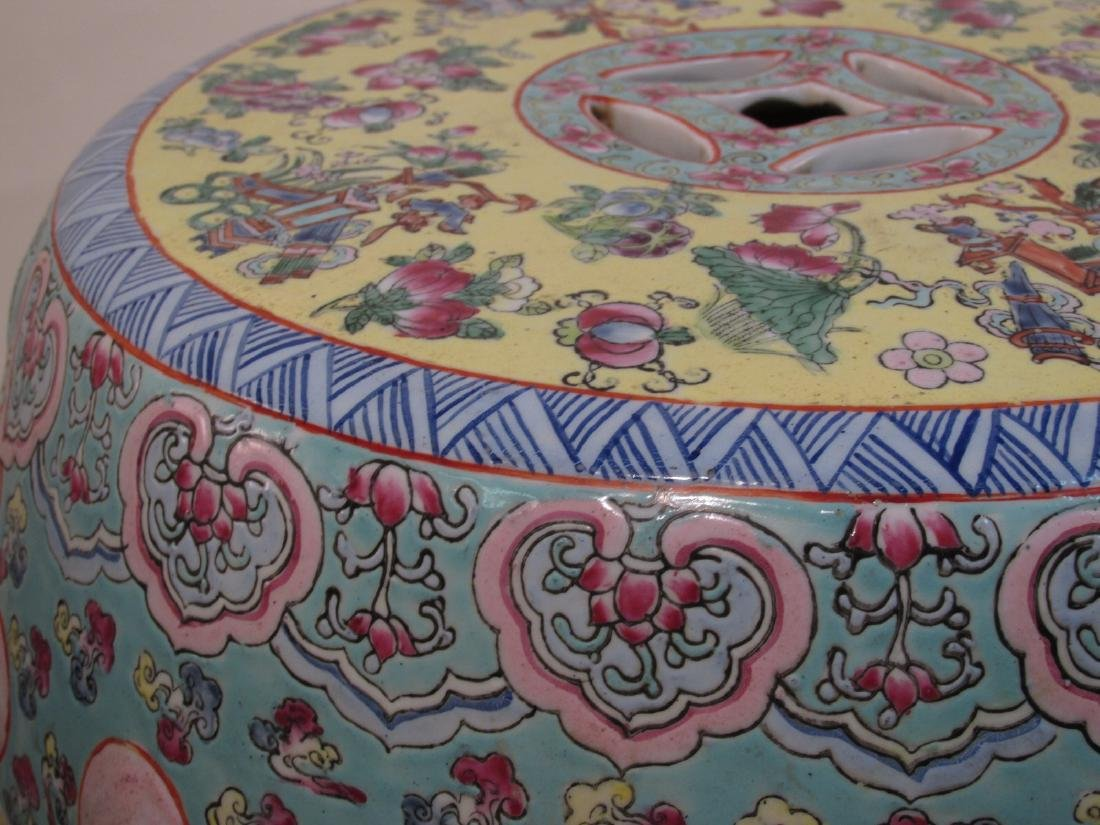 PAIR CHINESE ROSE MANDARIN GARDEN STOOLS - 8