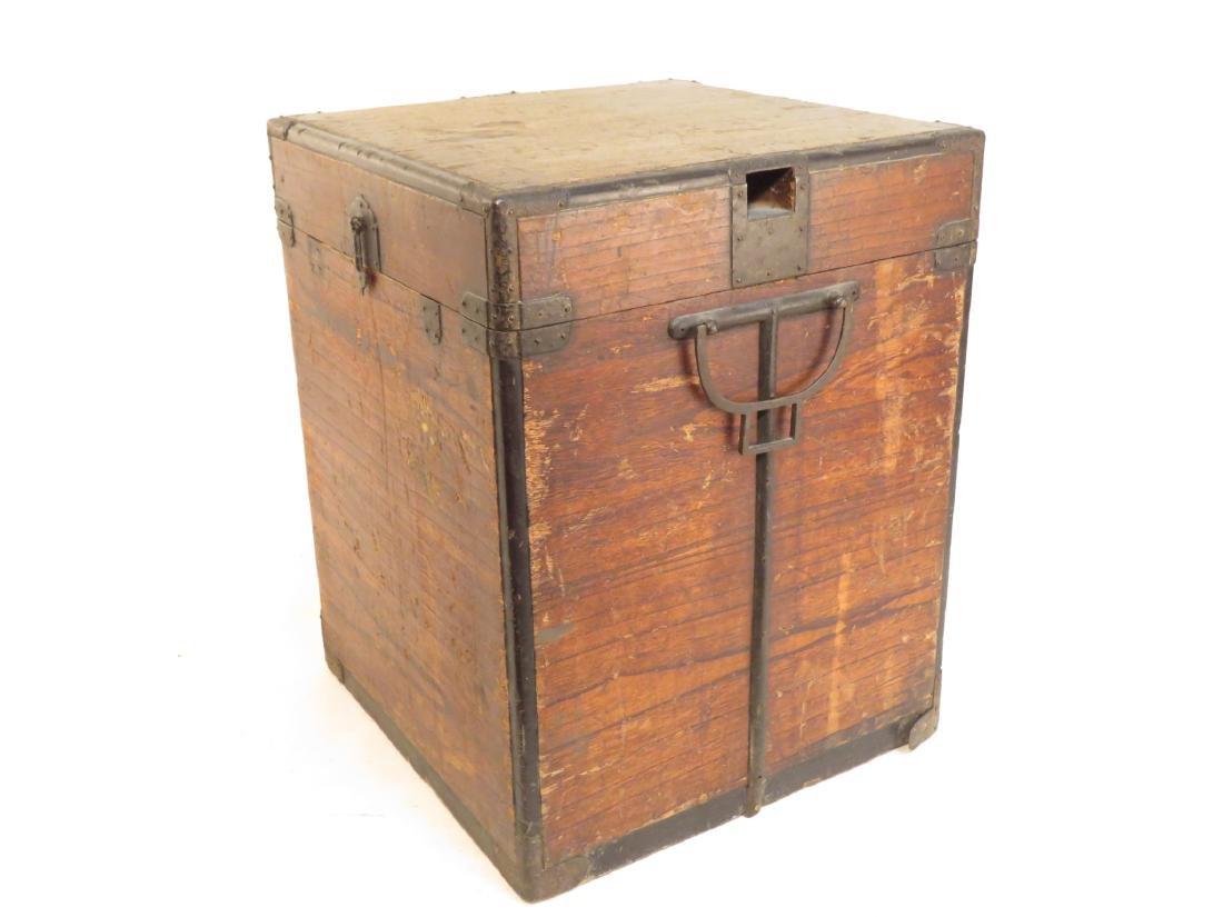 ANTIQUE JAPANESE BRONZE MOUNTED TANSU STYLE BOX