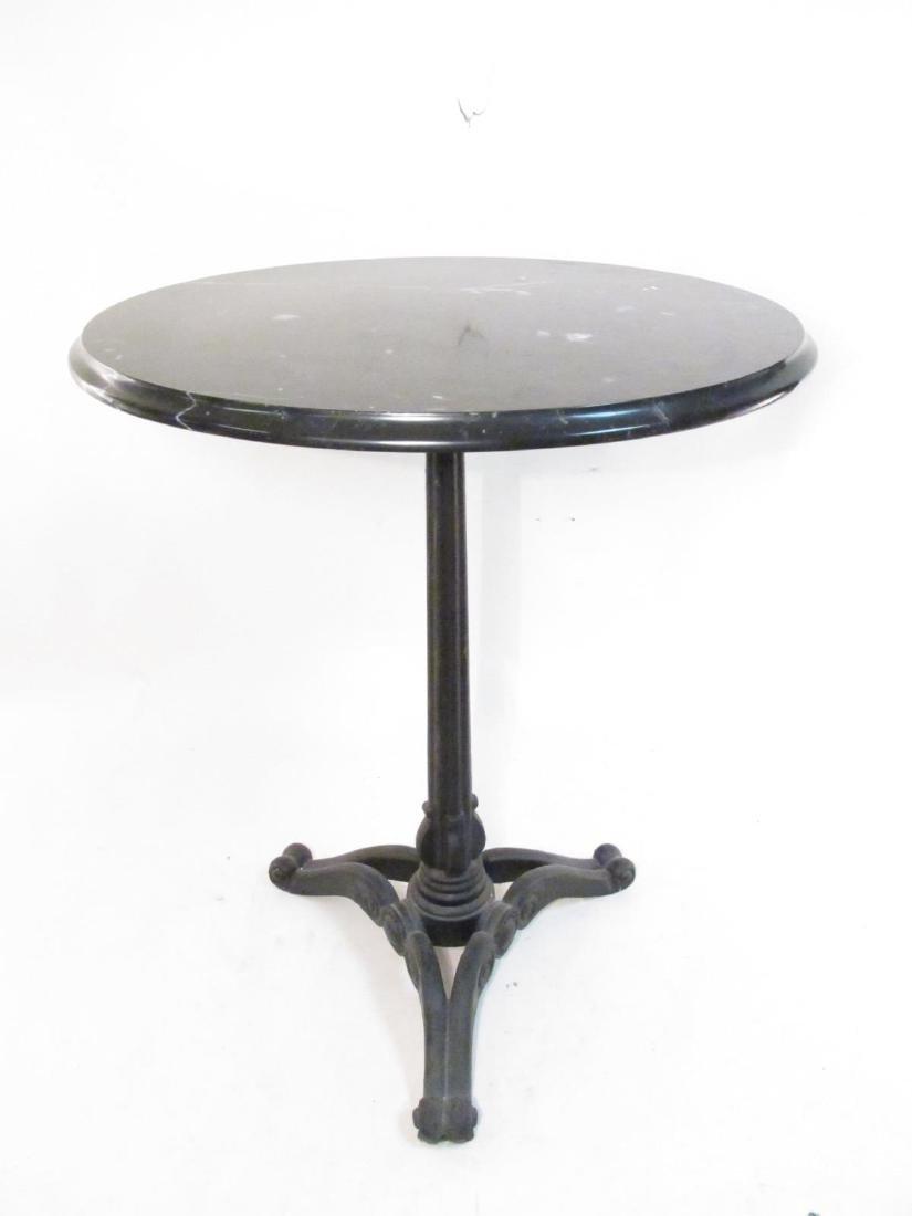 CAST IRON & MARBLE TRIPOD PEDESTAL SIDE TABLE