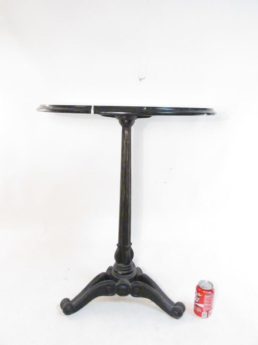 CAST IRON & MARBLE TRIPOD PEDESTAL SIDE TABLE - 7