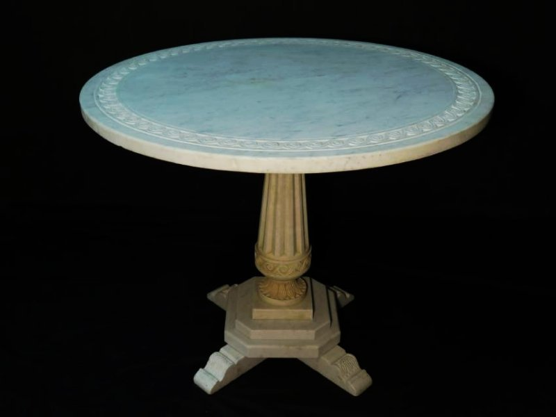 EARLY 20TH C CARVED CARRERA MARBLE PEDESTAL TABLE