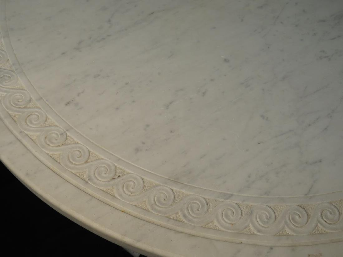 EARLY 20TH C CARVED CARRERA MARBLE PEDESTAL TABLE - 2