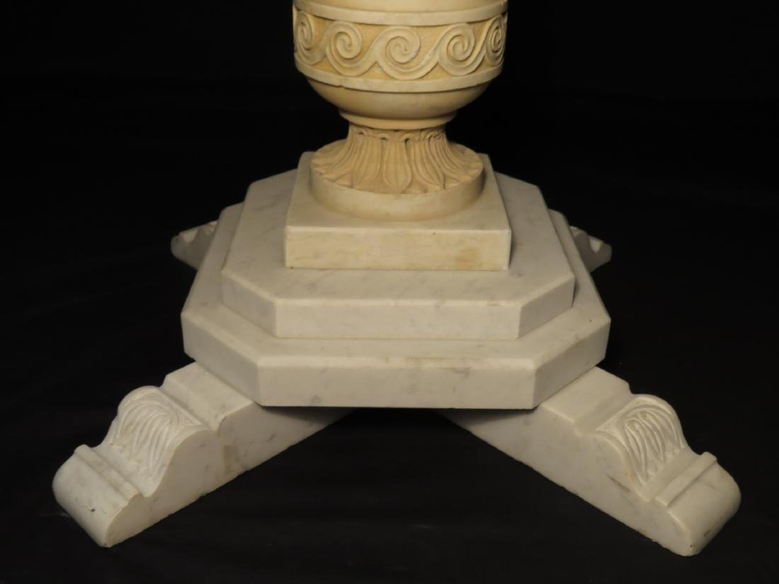 EARLY 20TH C CARVED CARRERA MARBLE PEDESTAL TABLE - 4