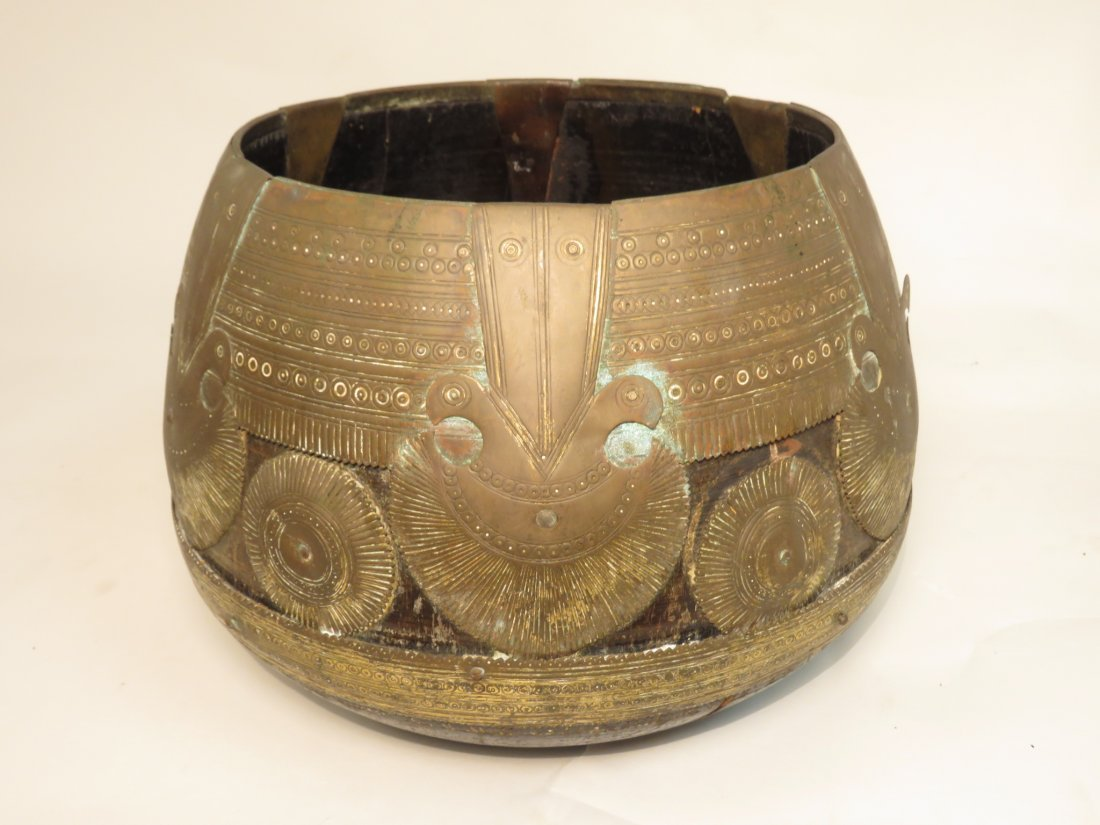 ANTIQUE AFRICAN GILT BRONZE OVERLAY WOOD WATER BOW