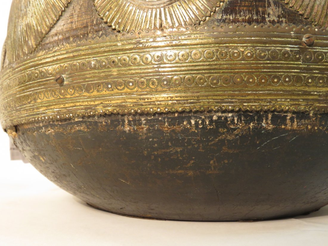 ANTIQUE AFRICAN GILT BRONZE OVERLAY WOOD WATER BOW - 4