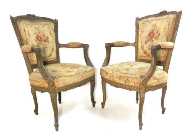 PAIR OF FRENCH CARVED WOOD PETITE POINT BERGERE CH