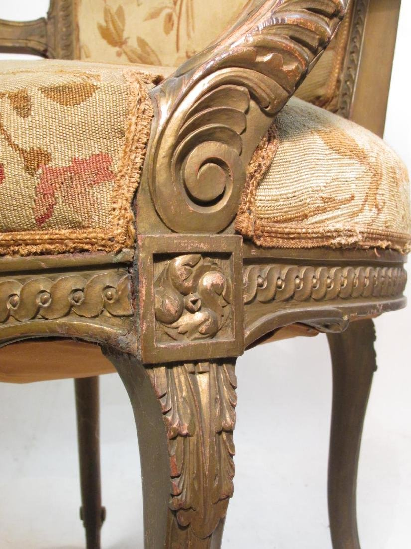 PAIR OF FRENCH CARVED WOOD PETITE POINT BERGERE CH - 7