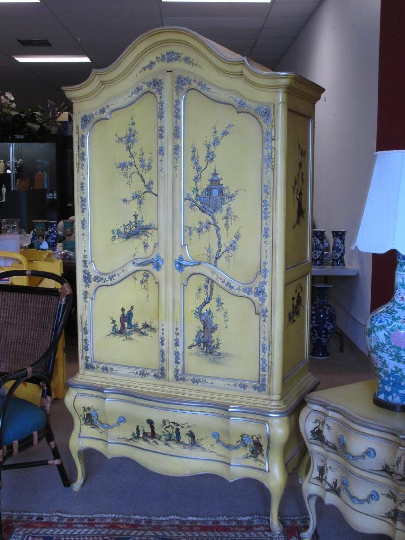 UNION NATIONAL YELLOW CHINOISERIE STYLE BEDROOM SE - 7