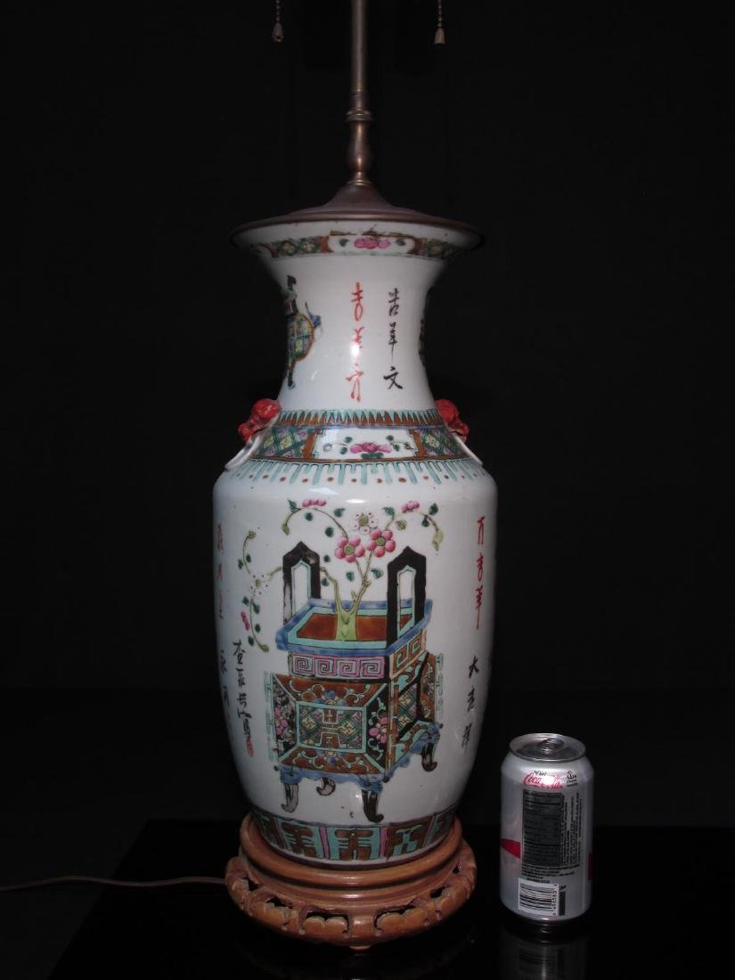 PAIR CHINESE FAMILLE ROSE VASES AS TABLE LAMPS - 11