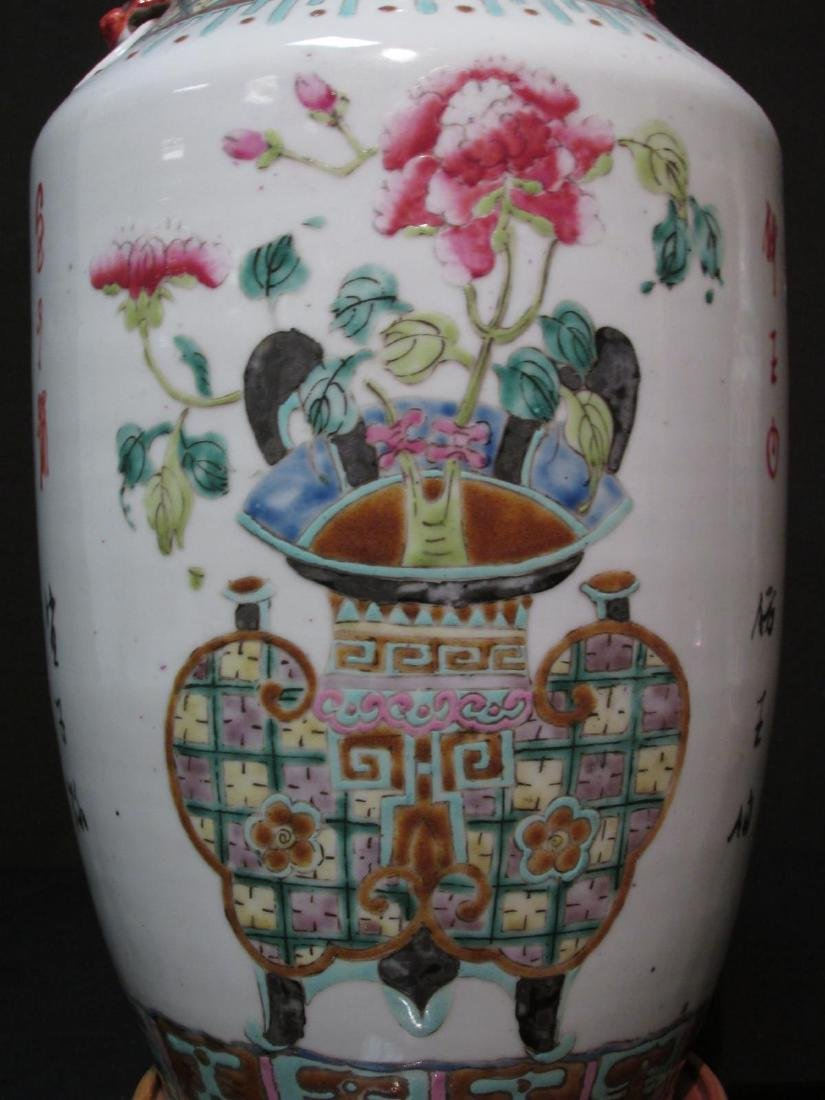 PAIR CHINESE FAMILLE ROSE VASES AS TABLE LAMPS - 6