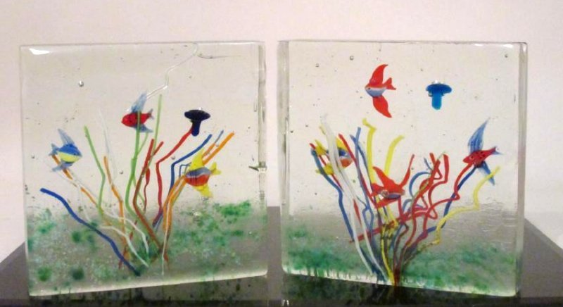 TWO ITALIAN ARTIST SIGNED ART GLASS AQUARIUMS