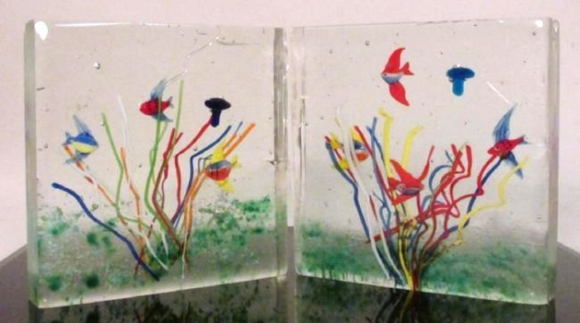 TWO ITALIAN ARTIST SIGNED ART GLASS AQUARIUMS - 2