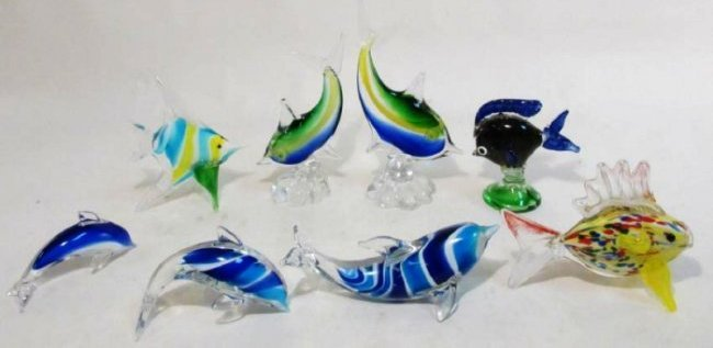 EIGHT ITALIAN MURANO ART GLASS FISH BY DANTE VENI