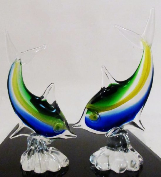EIGHT ITALIAN MURANO ART GLASS FISH BY DANTE VENI - 2