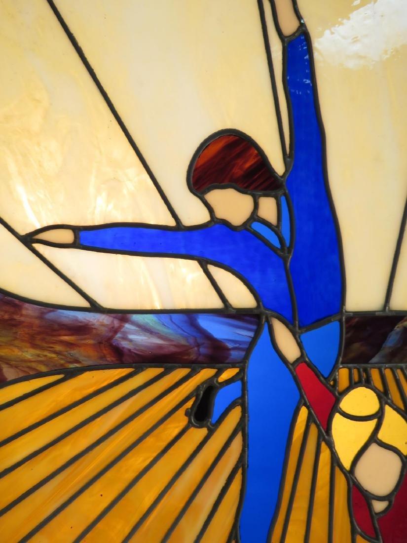 VINTAGE OAK FRAMED LEADED GLASS WINDOW PANEL - 3