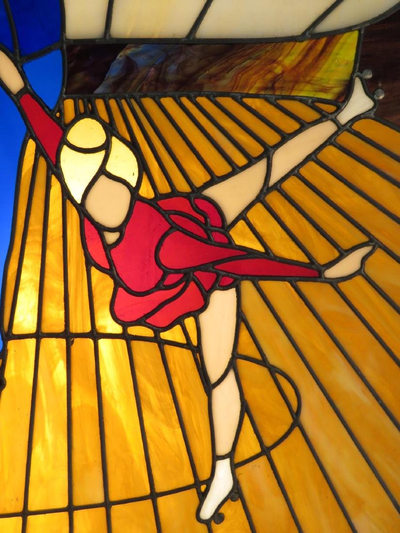 VINTAGE OAK FRAMED LEADED GLASS WINDOW PANEL - 4