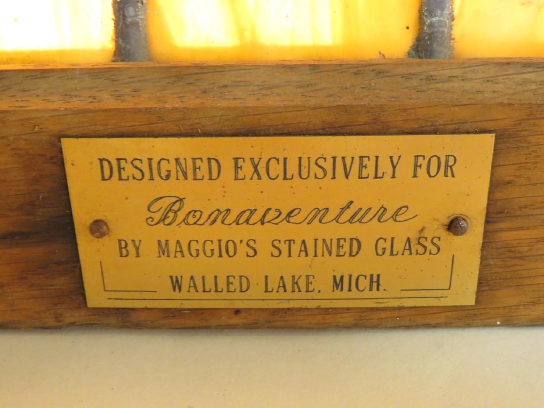 VINTAGE OAK FRAMED LEADED GLASS WINDOW PANEL - 6